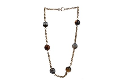 Lot 895 - A BEADED AGATE CHAIN