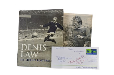 Lot 1765 - AN AUTOGRAPHED PHOTOGRAPH OF DENIS LAW ALONG WITH HIS AUTOBIOGRAPHY