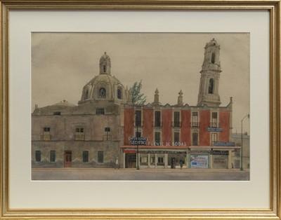 Lot 117 - CHURCH & SHOPS MEXICO A WATERCOLOUR BY ROBERT SAWYERS