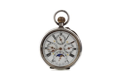Lot 711 - A SILVER CASED OPEN FACE MOONPHASE POCKET WATCH