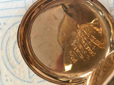 Lot 712 - AN ELGIN NINE CARAT GOLD CASED FULL HUNTER POCKET WATCH