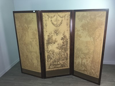 Lot 1353 - A VICTORIAN THREE PANEL DRESSING SCREEN