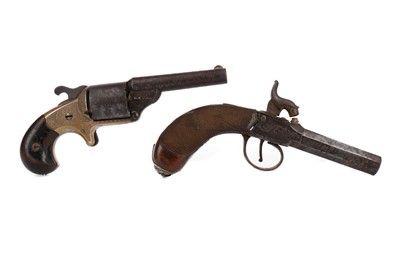 Lot 1358 - A MOORE'S PATENT TEATFIRE REVOLVER ALONG WITH A PERCUSSION PISTOL