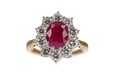 Lot 840 - A RUBY AND DIAMOND CLUSTER RING