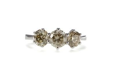 Lot 848 - A CERTIFICATED DIAMOND THREE STONE RING