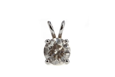 Lot 853 - A CERTIFICATED DIAMOND SOLITAIRE PENDANT