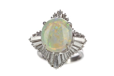 Lot 855 - AN OPAL AND DIAMOND BALLERINA RING