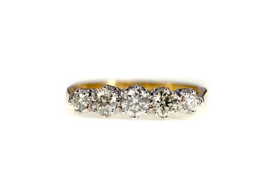 Lot 878 - A CERTIFICATED DIAMOND FIVE STONE RING