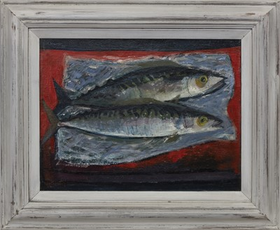 Lot 526 - FISH SUPPER, AN EARLY OIL BY DAVID MCLEOD MARTIN
