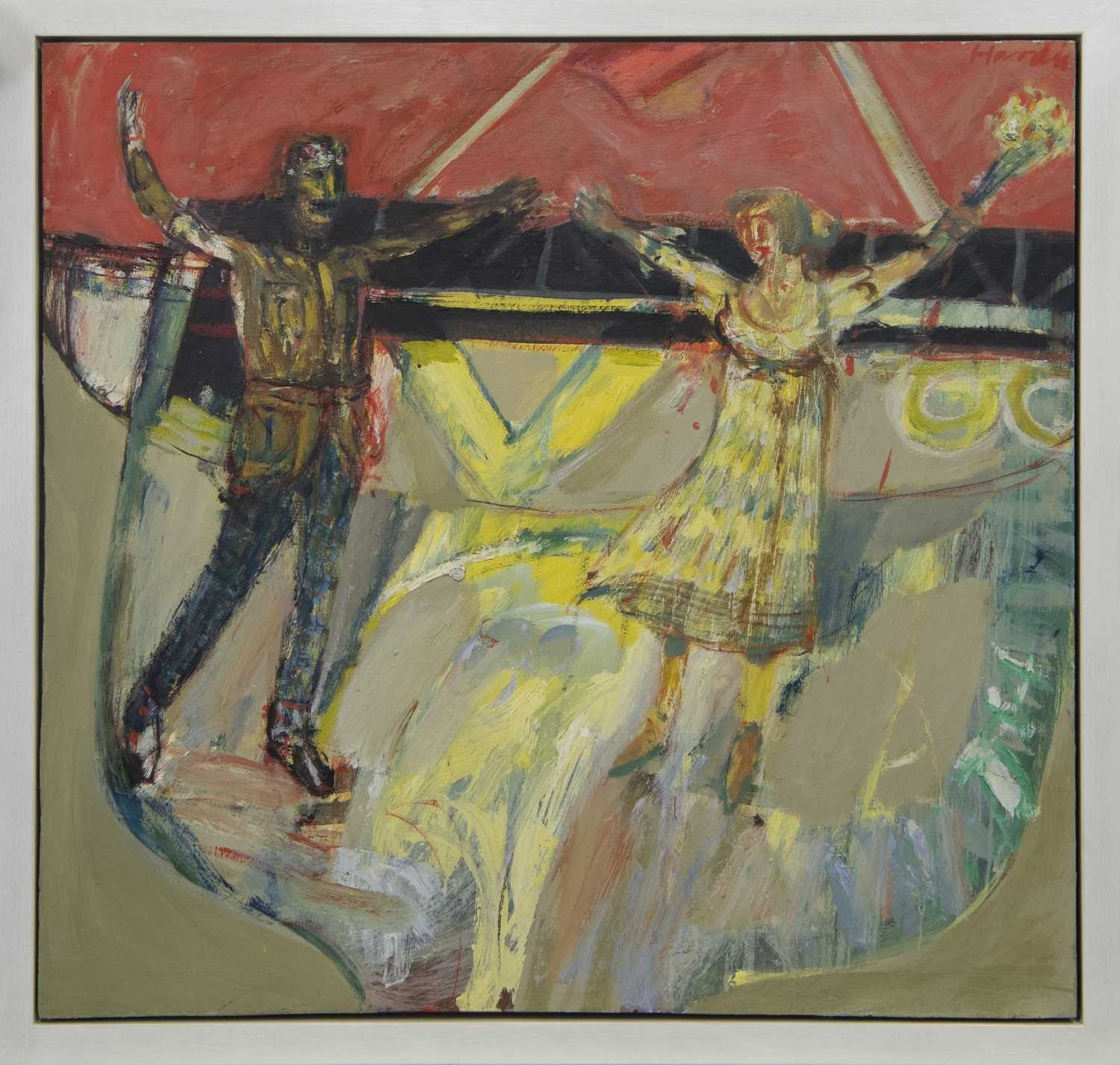 Lot 544 - ROTHESAY FERRY IV, THE COUPLE, AN OIL BY JAMES HARDIE