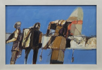 Lot 546 - AVIATORS AT STRATHALLAN, AN OIL BY JAMES HARDIE