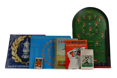 Lot 1781 - A MID-20TH CENTURY PIN FOOTBALL BAGATELLE BOARD, ALONG WITH THREE BOOKS AND TWO COIN COLLECTIONS
