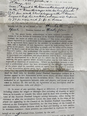 Lot 1790 - GEORGE CUMMINGS OF PARTICK THISTLE F.C., HIS SIGNED PLAYER CONTRACT