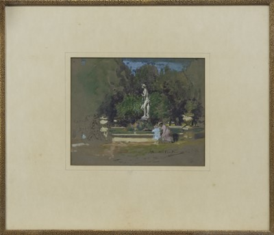 Lot 2 - FOUNTAIN WITH FIGURES, A WATERCOLOUR BY JAMES HAMILTON MACKENZIE