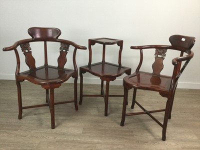 Lot 125A - A PAIR OF CHINESE HARDWOOD CORNER CHAIRS AND A TWO TIER TABLE