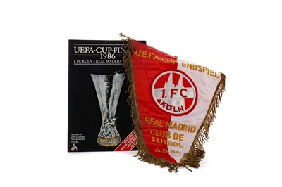 Lot 1810 - AN OFFICIAL F.C. KOLN 1986 EUFA CUP FINAL PENNANT, ALONG WITH A PROGRAMME