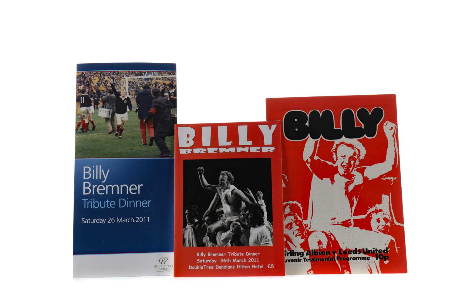 Lot 1809 - A BILLY BREMNER TESTIMONIAL PROGRAMME, ALONG WITH TWO TRIBUTE DINNER PROGRAMMES