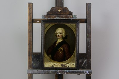 Lot 1009 - A REVERSE PAINTED HALF LENGTH PORTRAIT OF CHARLES EDWARD STUART AND OTHERS