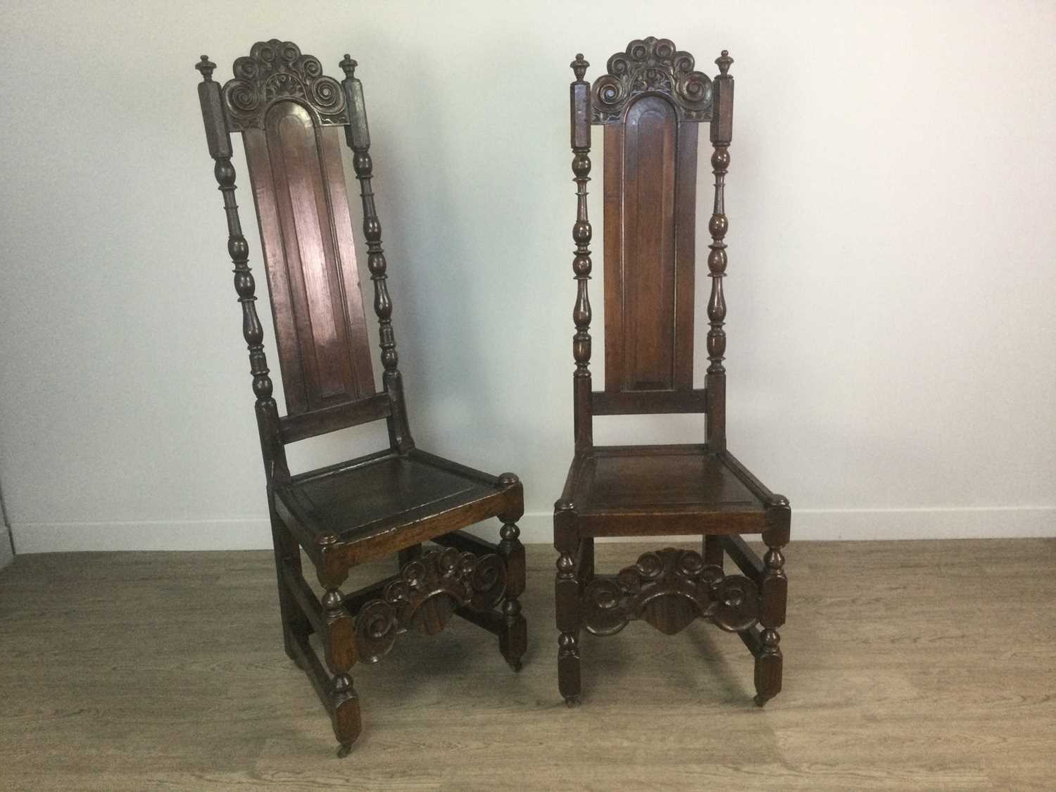 Lot 1403 - A PAIR OF OAK HIGH BACK HALL CHAIRS IN THE MANNER OF DANIEL MAROT