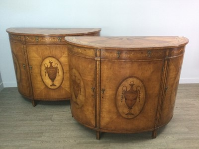 Lot 1405 - AN ATTRACTIVE PAIR OF MAHOGANY DEMI-LUNE SIDE CABINETS
