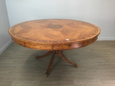 Lot 1408 - A LARGE MAHOGANY CIRCULAR DRUM STYLE DINING TABLE OF GEORGE III DESIGN