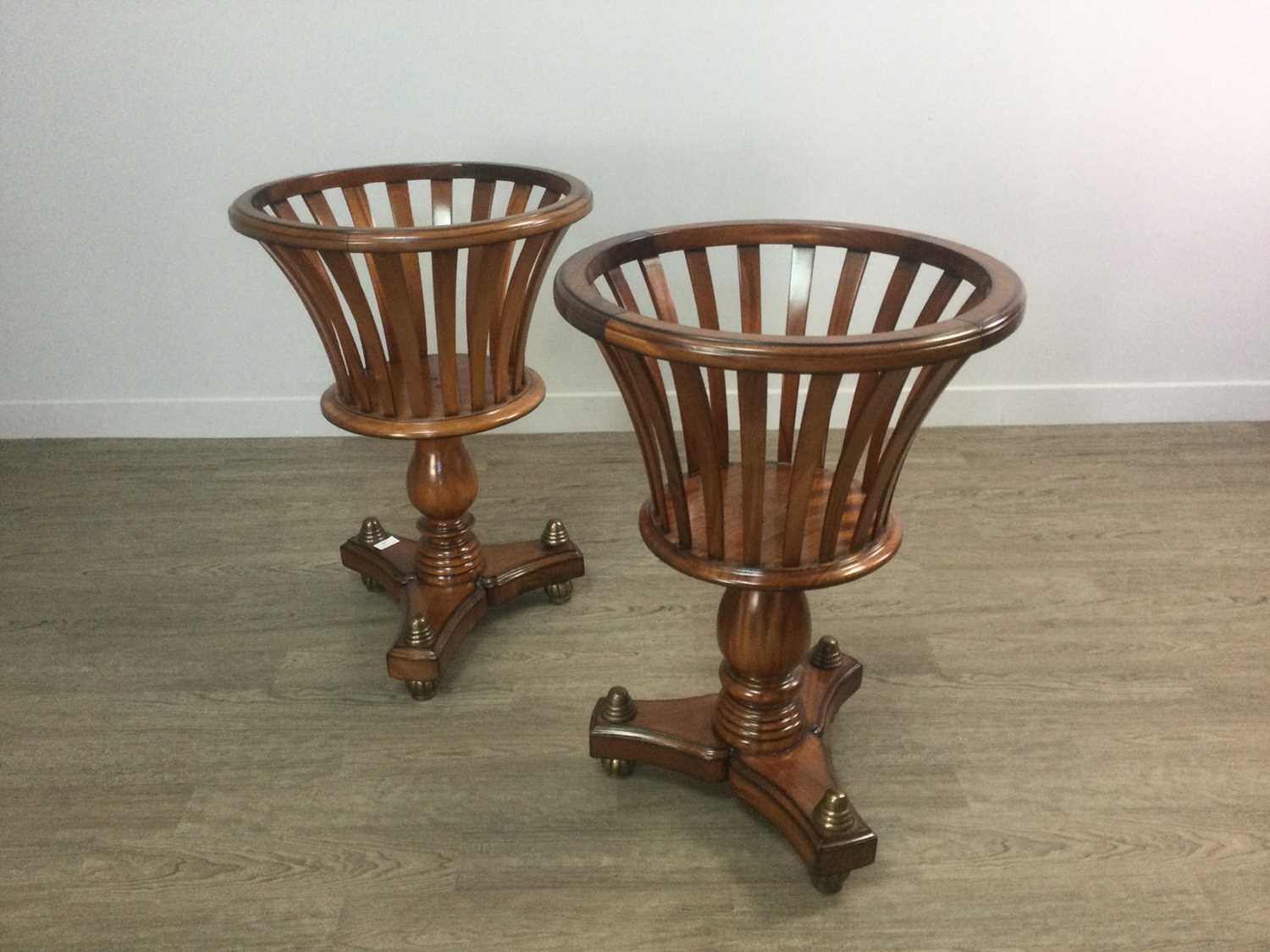 Lot 1409 - A PAIR OF MAHOGANY DUTCH STYLE JARDIENER STANDS