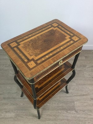 Lot 1412 - A 19TH CENTURY FRENCH WALNUT AND EBONISED ETAGERE