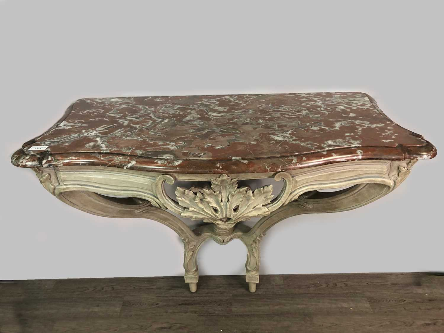 Lot 1423 - A FRENCH GREY PAINTED CONSOLE TABLE OF LOUIS XV DESIGN