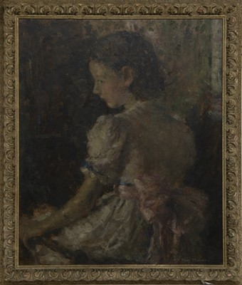 Lot 3 - GIRL WITH THE ROSE SASH, AN OIL BY MARY MACKENZIE