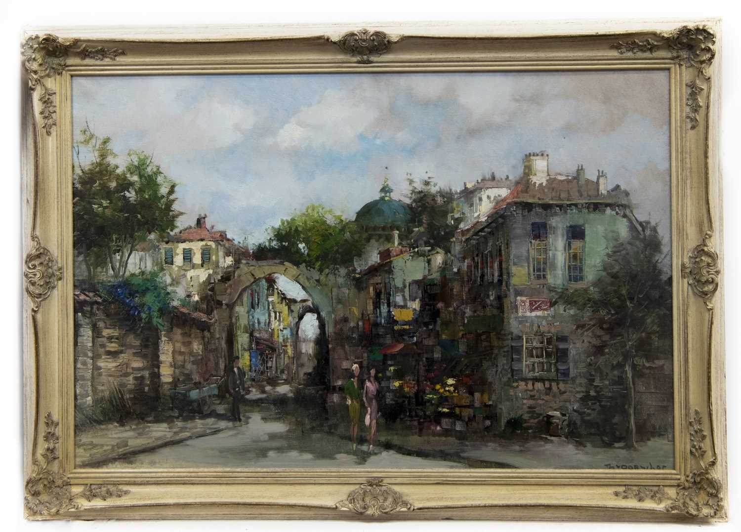 Lot 553 - THROUGH THE ARCHWAY, PARIS, AN OIL BY THEO VAN OORSCHOT