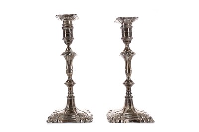 Lot 455 - A PAIR OF GEORGE V SILVER CANDLESTICKS