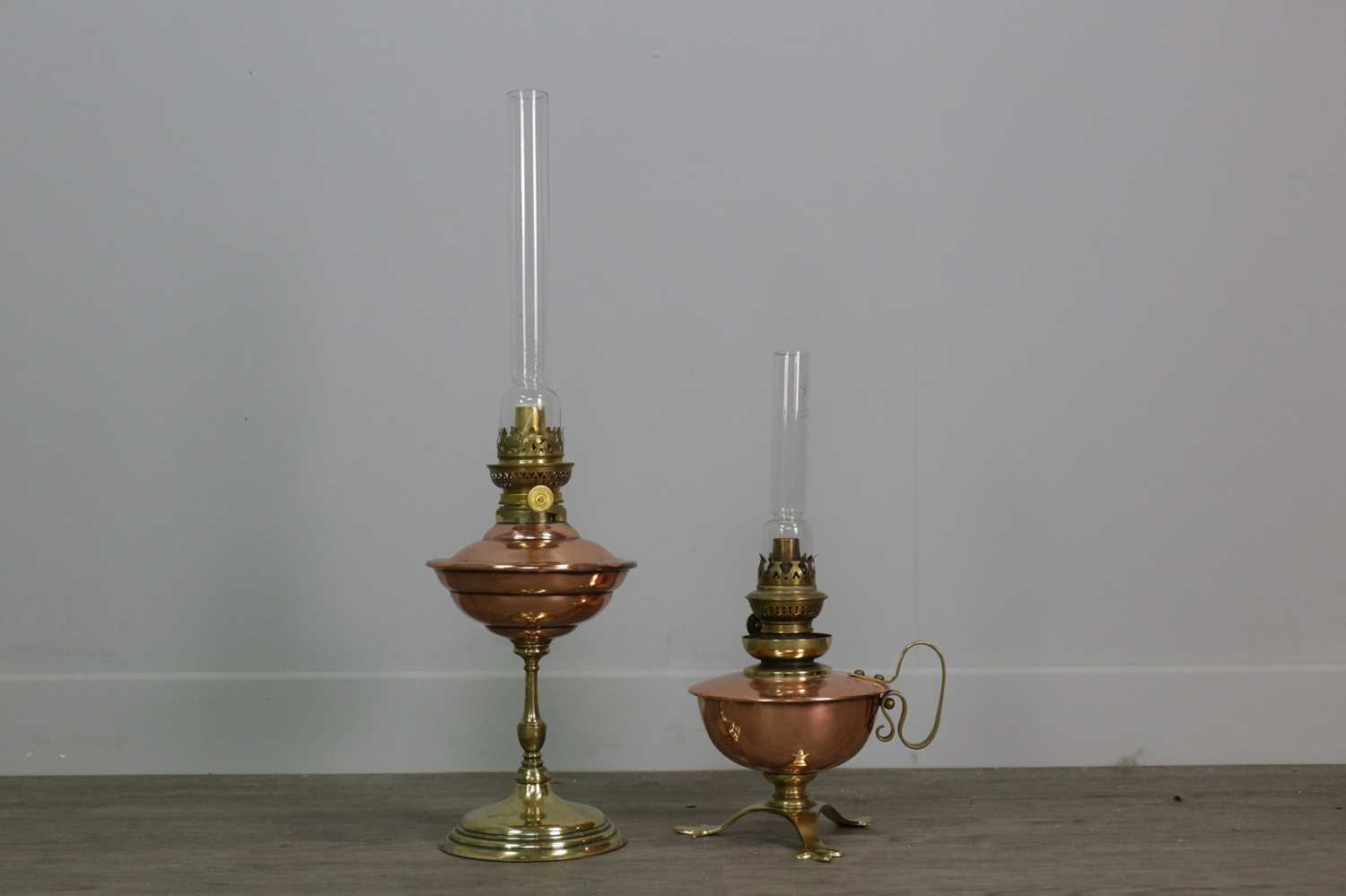 Lot 1365 - A LOT OF TWO OIL LAMPS IN THE MANNER OF W.A.S. BENSON