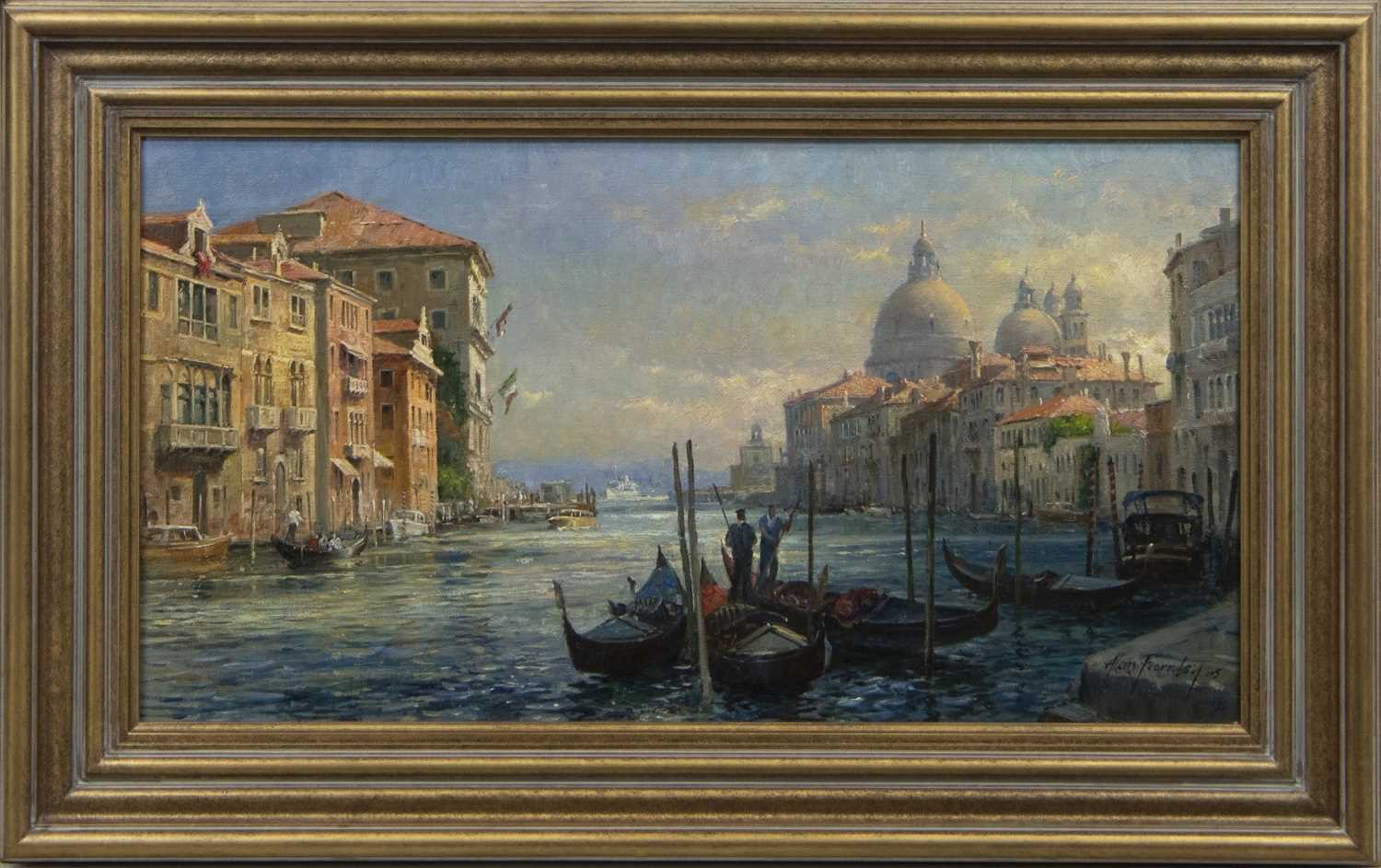 Lot 555 - VENICE WITH MARIA DELLA SALUTE IN THE DISTANCE, AN OIL ALAN FEARNLEY