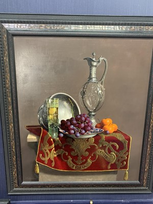 Lot 557 - STILL LIFE WITH GRAPES AND MANDARINS WITH 18TH CENTURY WINE CARAFE BY WILLEM DOLPHYN
