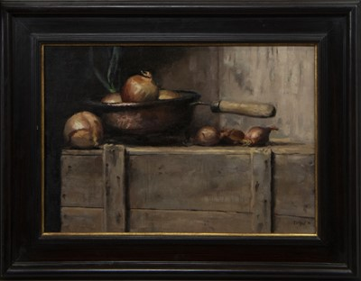 Lot 576 - STILL LIFE WITH ONIONS, AN OIL BY TMW