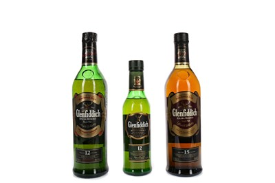 Lot 43 - GLENFIDDICH AGED 15 YEARS, AND ONE & A HALF BOTTLES OF GLENFIDDICH AGED 12 YEARS