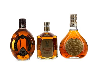 Lot 56 - DIMPLE 15 YEARS OLD, SCOTTISH LEADER AGED 15 YEARS AND JOHNNIE WALKER SWING
