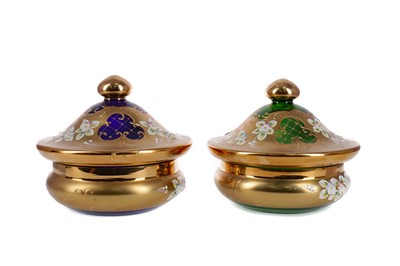 Lot 1038 - A PAIR OF CONTEMPORARY MURANO GLASS JARS AND COVERS