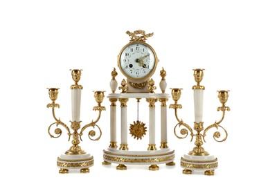 Lot 1147 - AN ORMOLU AND ALABASTER CLOCK GARNITURE