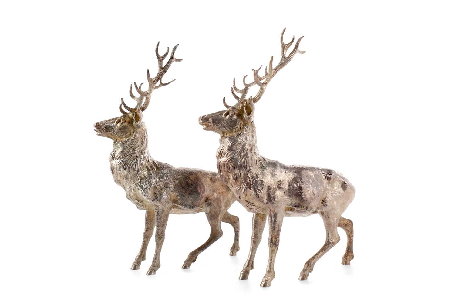 Lot 460 - A FINE PAIR OF CAST SILVER FIGURES OF ROYAL STAGS