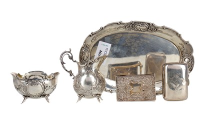 Lot 465 - A SWEDISH 800 STANDARD SILVER SUGAR AND CREAM ON STAND, ALONG WITH OTHER SILVER AND PLATE