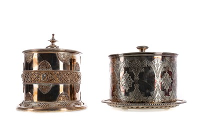 Lot 466 - TWO EARLY 20TH CENTURY SILVER PLATED BISCUIT BARRELS