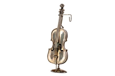 Lot 469 - A CONTINENTAL SILVER MINIATURE DOUBLE BASS AND GONDOLA