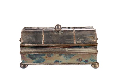 Lot 463 - A VICTORIAN SILVER PLATED DOUBLE INKWELL