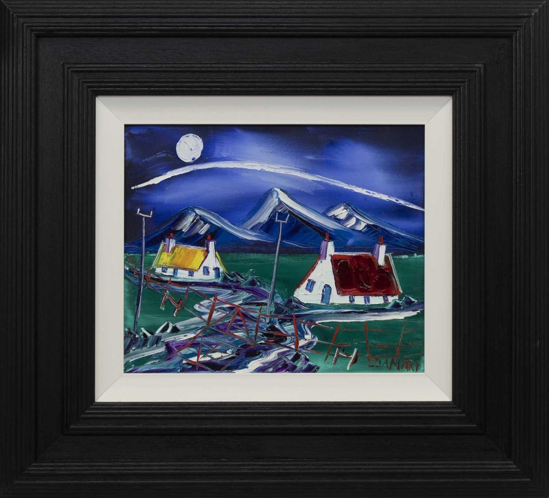 Lot 573 - MOONLIT NIGHT AT THE FOUR STONES, CRINAN ARGYLL, AN OIL BY JOHN DAMARI