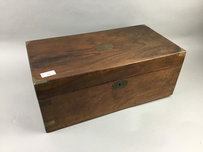 Lot 63 - AN EARLY 20TH CENTURY BRASS MOUNTED WALNUT LAP DESK AND OTHER ITEMS