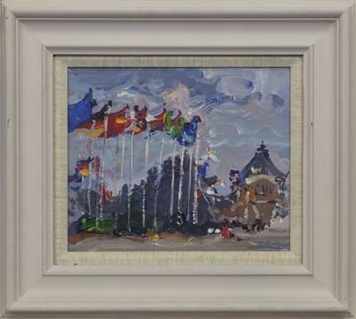 Lot 596 - FLAGS AT TREBEURDEN, AN ACRYLIC BY JAMES FULLARTON