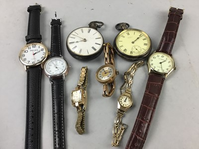 Lot 34 - A WALTHAM SILVER OPEN FACE POCKET WATCH AND OTHER WATCHES