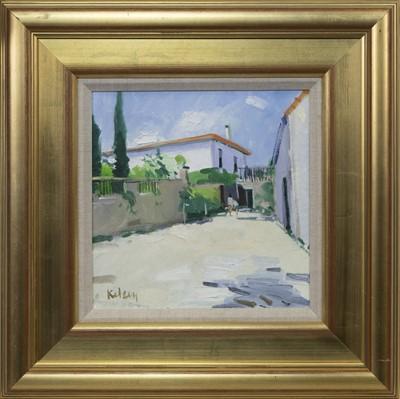 Lot 593 - SPANISH COURTYARD, MALAGA, AN OIL BY ROBERT KELSEY