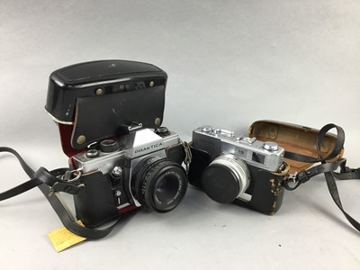 Lot 38 - A PENTAX CAMERA IN CASE, OTHER CAMERAS AND A BAROMETER